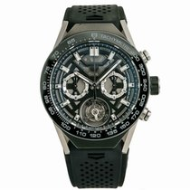 TAG Heuer Carrera Heuer-02T pre-owned 46mm Grey Tourbillon Rubber