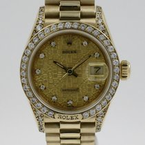 Rolex Gelbgold Automatik Champagnerfarben Keine Ziffern 26mm gebraucht Lady-Datejust