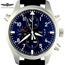 IWC Pilot Double Chronograph pre-owned 46mm Black Date Weekday Fold clasp