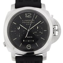 Panerai Acero Cuerda manual Negro 44mm usados Luminor 1950 8 Days Chrono Monopulsante GMT