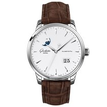 Glashütte Original Senator Excellence pre-owned 42mm White Moon phase Date Crocodile skin