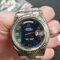 Rolex Day-Date II Oro blanco 41mm Azul Arábigos
