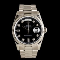 Rolex White gold Automatic Black 36mm pre-owned Day-Date 36