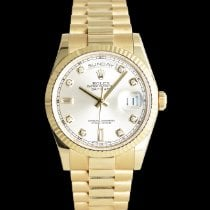 Rolex Day-Date 36 Yellow gold 36mm Silver