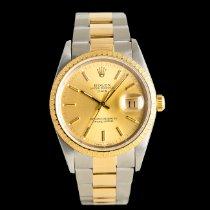 Rolex Oyster Perpetual Date Золото/Cталь 34mm Цвета шампань
