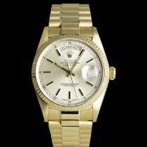 Rolex Yellow gold Automatic Silver 36mm pre-owned Day-Date 36