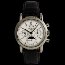 Patek Philippe Perpetual Calendar Chronograph White gold 36mm Silver