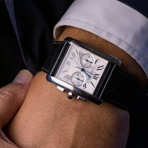 Cartier Tank MC pre-owned Silver Chronograph Date Fold clasp