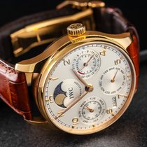 IWC Pозовое золото Автоподзавод Cеребро Aрабские 42mm подержанные Portuguese Perpetual Calendar