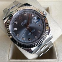 Rolex Silver Automatic Grey No numerals 41mm pre-owned Datejust II