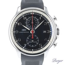 IWC Portuguese Yacht Club Chronograph tweedehands 45.5mm Zwart Chronograaf Datum Rubber