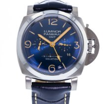 Panerai Luminor 1950 8 Days GMT pre-owned 47mm Blue Equation of time Leather