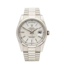 Rolex Or blanc Remontage automatique Argent 36mm occasion Day-Date 36