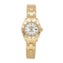 Rolex Lady-Datejust Pearlmaster Yellow gold 29mm White No numerals