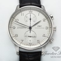 IWC Portuguese Chronograph Or blanc 41mm Argent Arabes