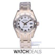Rolex Oro blanco Automático Blanco Romanos 29mm nuevo Lady-Datejust Pearlmaster