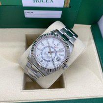 Rolex Steel Automatic White No numerals 42mm pre-owned Sky-Dweller