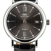 IWC Portofino Automatic pre-owned 37mm Grey Date Crocodile skin