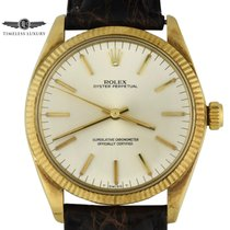 Rolex Yellow gold Automatic Silver No numerals 34mm pre-owned Oyster Perpetual 34