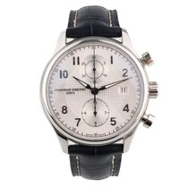 Frederique Constant Runabout Chronograph pre-owned 42mm Silver Chronograph Date Leather