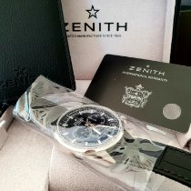 Zenith El Primero 36'000 VpH pre-owned 42mm Black Chronograph Double chronograph Flyback Panorama date Date Tachymeter Crocodile skin