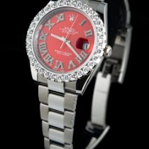 Rolex Datejust Steel 41mm Red Roman numerals