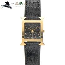 에르메스 옐로우골드 쿼츠 검정색 35mm 중고시계 외흐 H