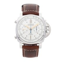 Panerai Luminor 1950 3 Days Chrono Flyback pre-owned 44mm White Flyback Tachymeter Leather