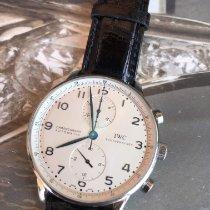 IWC Portugieser Chronograph gebraucht 41mm Weiß Chronograph Krokodilleder
