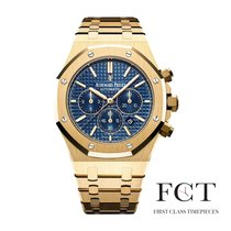Audemars Piguet Yellow gold Automatic Blue No numerals 41mm pre-owned Royal Oak Chronograph