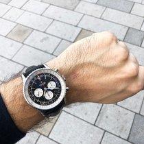 Breitling Navitimer 01 (46 MM) AB0127211B1X1 Breitling Navitimer B01 Cronografo 46mm Nero Contatori Avorio Cinturino Pelle Nera 2020 new