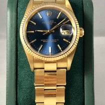 Rolex Oyster Perpetual Date Yellow gold 34mm Blue No numerals