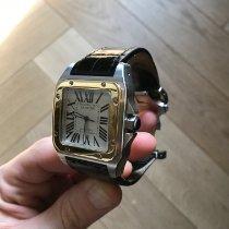Cartier Santos 100 Золото/Cталь 41mm Белый Римские