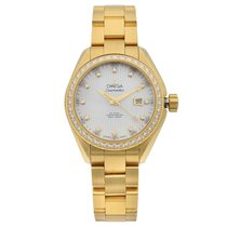 Omega Yellow gold Automatic Mother of pearl 34mm pre-owned Seamaster Aqua Terra