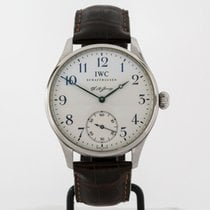 IWC Portuguese Hand-Wound pre-owned 42mm White Leather