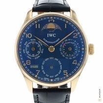 IWC Pозовое золото Автоподзавод Синий Aрабские 42.3mm подержанные Portuguese Perpetual Calendar
