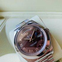 Rolex Day-Date II Platina 41mm Bruin Romeins Nederland, Kerkrade
