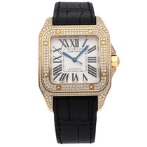 Cartier Santos 100 Yellow gold 44.2mm Silver Roman numerals