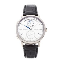 A. Lange & Söhne Saxonia pre-owned 40mm Silver GMT Crocodile skin