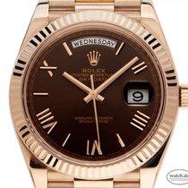 Rolex Oro rosa Automático Marrón Romanos 40mm nuevo Day-Date 40