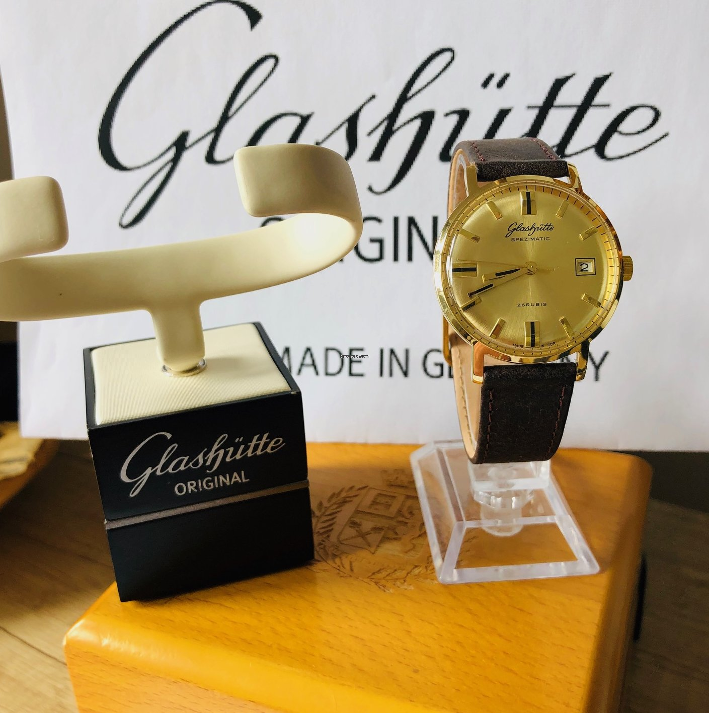 glashütte uhr gold plaque