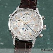 Maurice Lacroix Les Classiques Chronographe gebraucht 41mm Silber Mondphase Chronograph Datum Wochentagsanzeige Monatsanzeige GMT/Zweite Zeitzone Krokodilleder