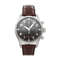 IWC Pilot Spitfire Chronograph pre-owned 43mm Grey Chronograph Date Crocodile skin