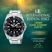 Seiko 5 Sports Acier 42mm Noir Sans chiffres
