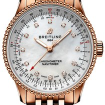 Breitling Red gold Automatic Mother of pearl No numerals 35mm new Navitimer