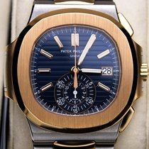 Patek Philippe Nautilus Gold/Steel 40.5mm Blue No numerals