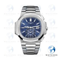 Patek Philippe White gold Automatic Blue No numerals 44mm pre-owned Nautilus