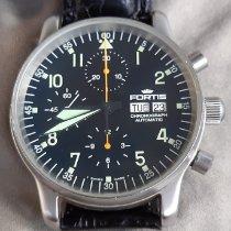 Fortis Flieger Steel 40mm Black Arabic numerals