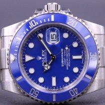 Rolex Or blanc Remontage automatique Bleu Sans chiffres 40mm occasion Submariner Date