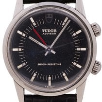 Tudor Heritage Advisor pre-owned 34mm Black Alarm Leather
